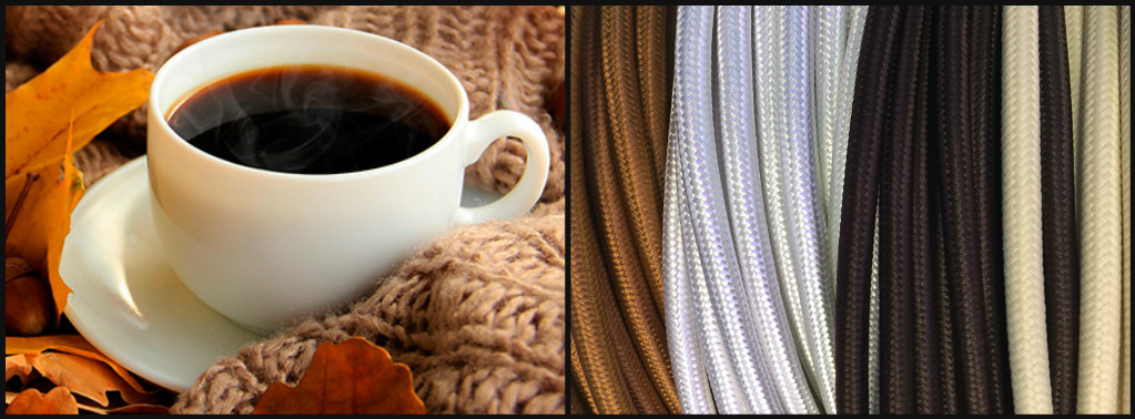 cables de tela colores marrón, cobre, blanco, crema, beig